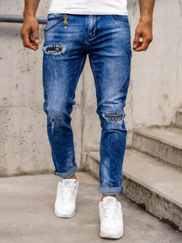 Темно-синие мужские джинсовые брюки Slim fit Bolf 85001s0