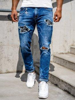 Темно-синие мужские джинсовые брюки Slim fit Bolf 85004s0