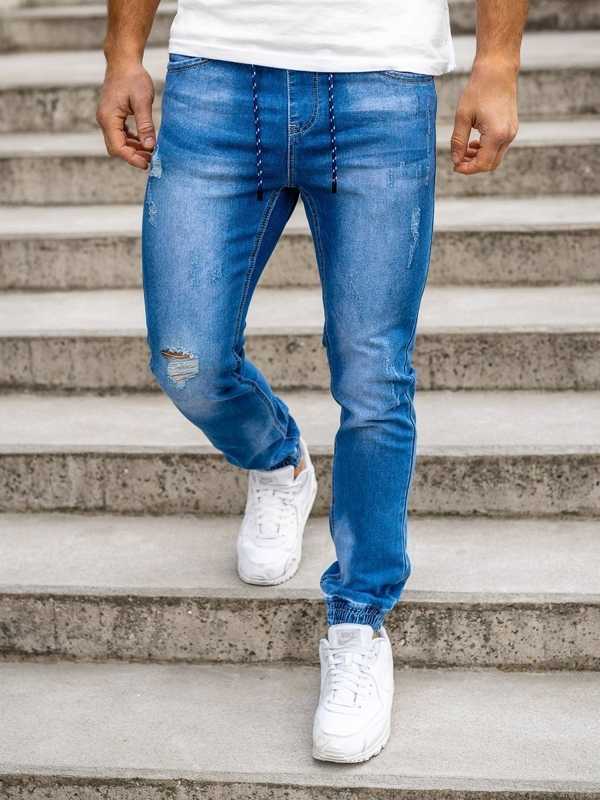 Темно-синие мужские джинсовые джоггеры Bolf KA1720