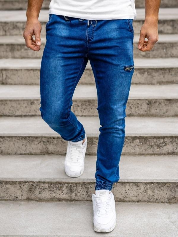Темно-синие мужские  джинсовые джоггеры Bolf KA735