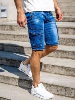 Темно-синие мужские джинсовые шорты карго с поясом Bolf KR1076