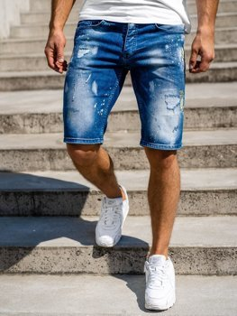 Темно-синие мужские джинсовые шорты Bolf 3006