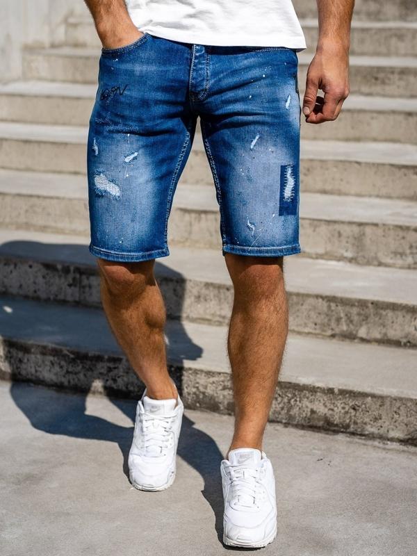 Темно-синие мужские джинсовые шорты Bolf 3007