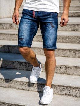Темно-синие мужские джинсовые шорты Bolf 3016
