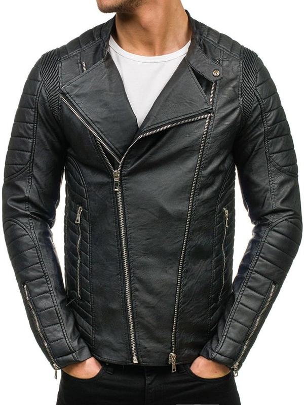 Черная мужская кожаная куртка Bolf 9129