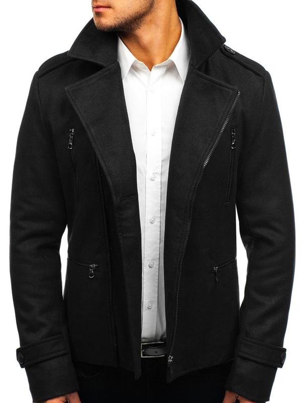 Черное мужское зимнее пальто Bolf 3133