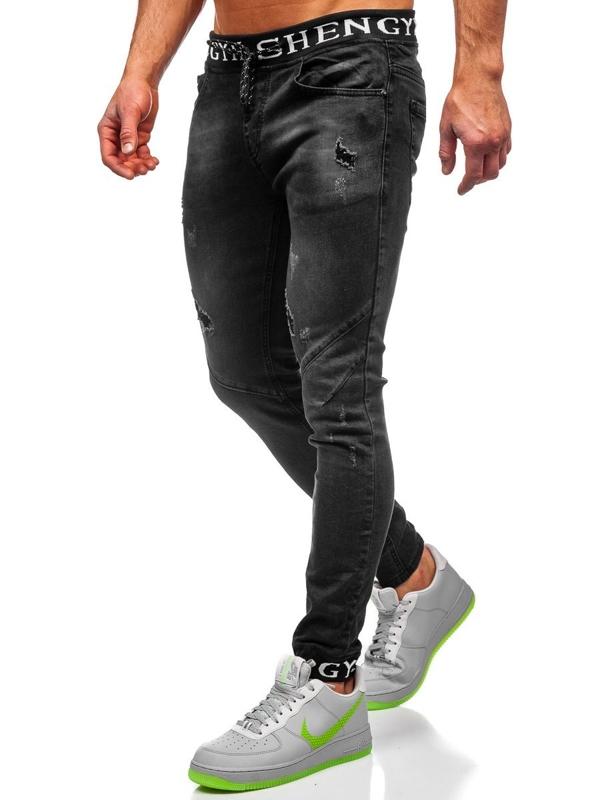 Черные мужские джинсовые джоггеры Bolf KA1857