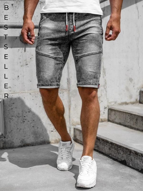 Черные мужские джинсовые шорты Bolf HY651