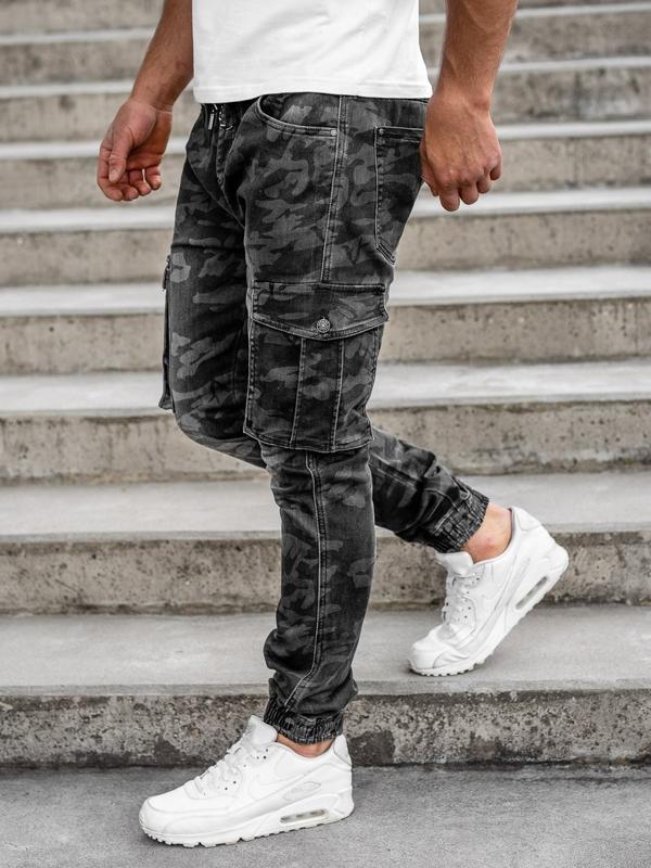 Черные мужские камуфляжные брюки джоггеры-карго Bolf RB9491DT