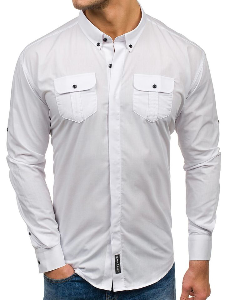 9d3dbd66db9 Белая элегантная мужская рубашка с длинным рукавом Bolf 0780 БЕЛЫЙ