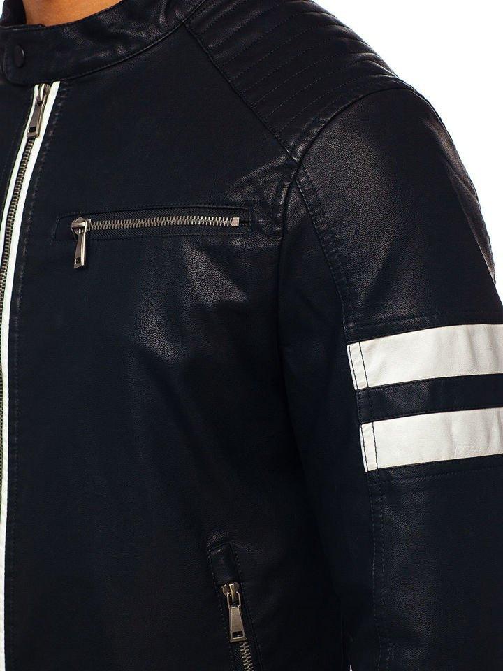 11eb12a9260 Мужская кожаная куртка черная Bolf 1075