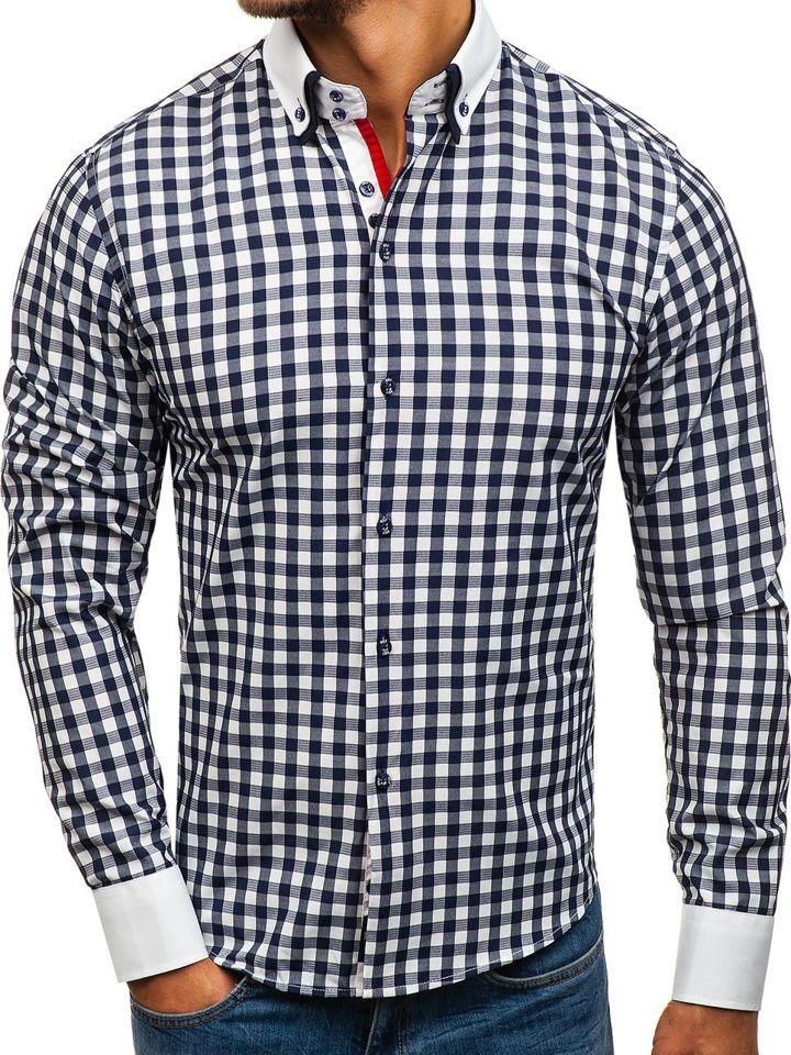 701366f1cd1 Мужская рубашка в клетку с длинным рукавом темно-синяя Bolf 8807 ...