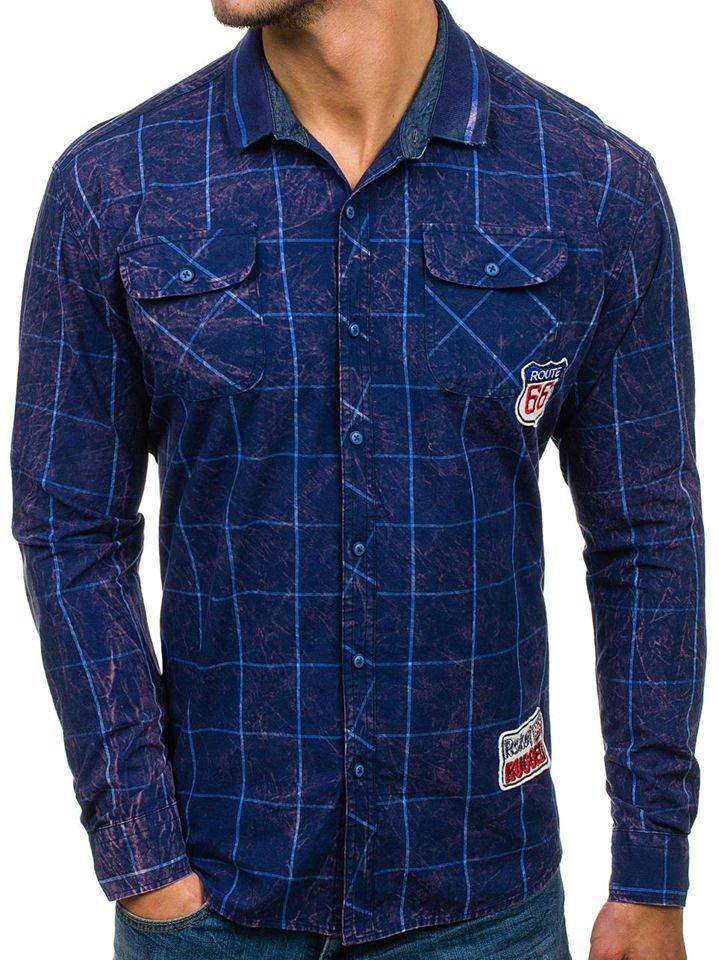 2e937bbda3f Темно-синяя мужская рубашка в клетку с длинным рукавом Bolf 2506 ...