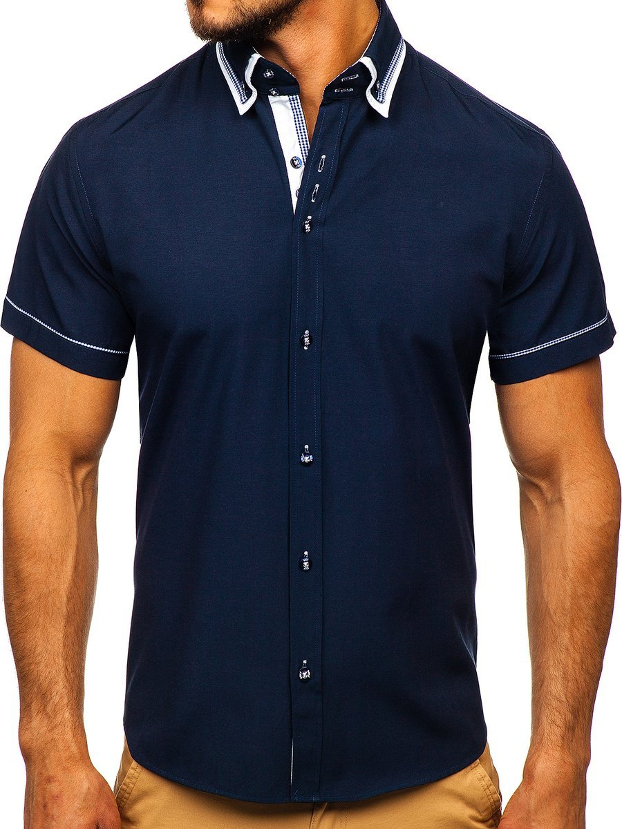 06f860156c6f00c Темно-синяя мужская рубашка с коротким рукавом Bolf 3520 ТЕМНО-СИНИЙ