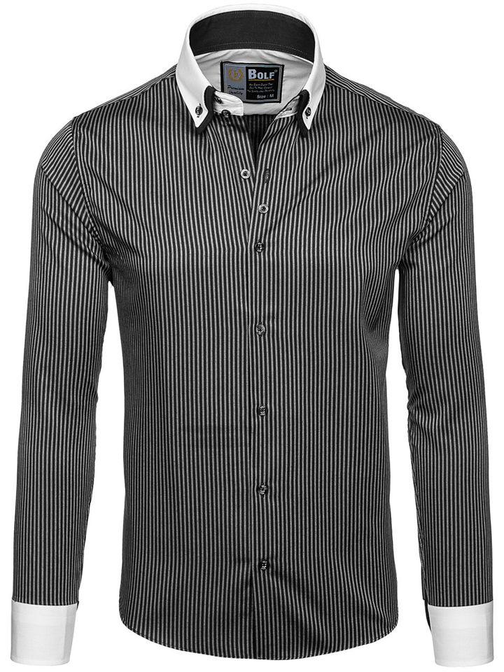 d5513c2aef3 ... Черная мужская элегантная рубашка в полоску с длинным рукавом Bolf 0909