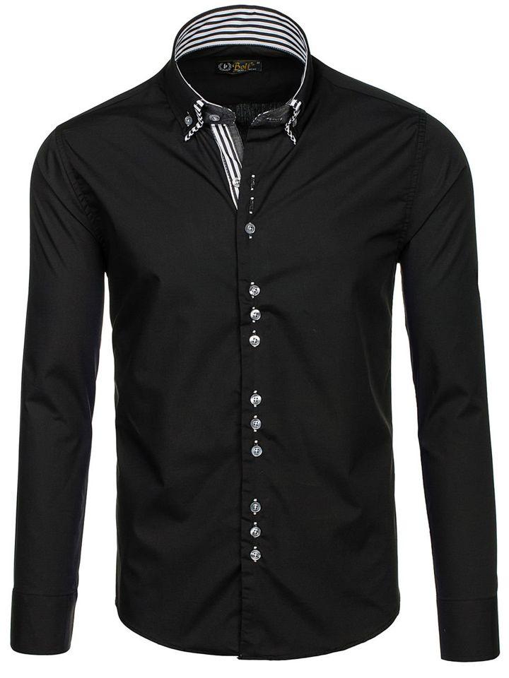 b97db584723 Элегантная мужская рубашка с длинным рукавом черная Bolf 4703 Черный