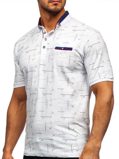 Белая мужская футболка поло с принтом Bolf 192232