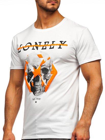 Белая мужская футболка с принтом Bolf Y70011