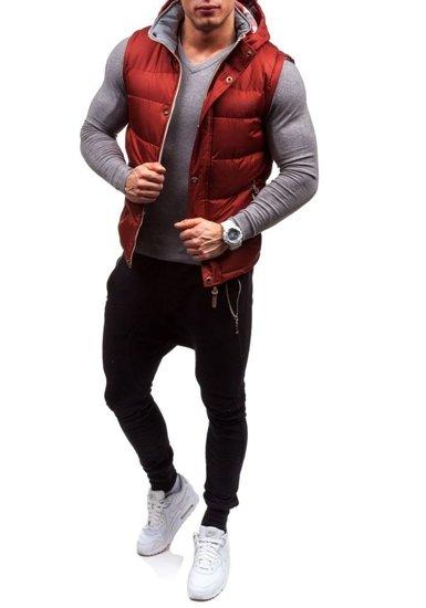 Бордовая мужская безрукавка с капюшоном Bolf K020