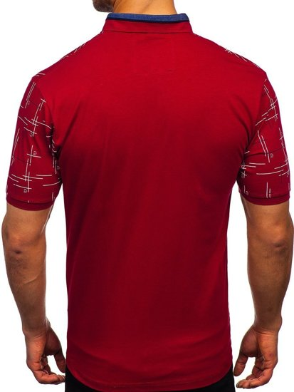 Бордовая мужская футболка поло с принтом Bolf 192232