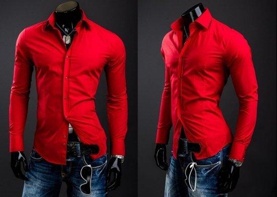 Элегантная мужская рубашка с длинным рукавом красная Bolf 1703A