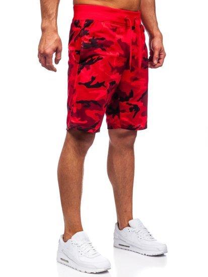 Красные спортивные мужские камуфляжные шорты Bolf K10036