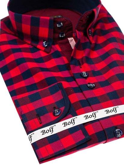 Мужская рубашка в клетку с длинным рукавом красная Bolf 4701