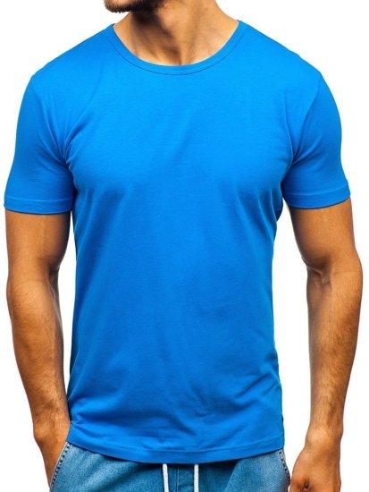 Мужская футболка без принта синяя Bolf T1042
