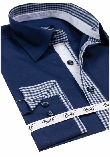 Мужская элегантная рубашка с длинным рукавом темно-синяя Bolf 6873