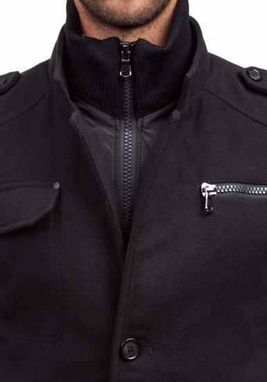 Пальто зимнее мужское черное Bolf 8856B