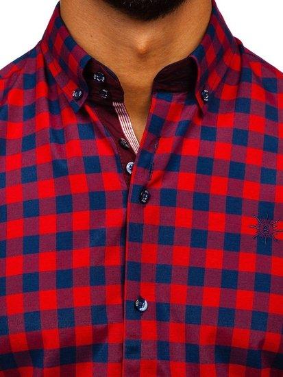 Рубашка мужская клетчатая с длинным рукавом крсная Bolf 4701