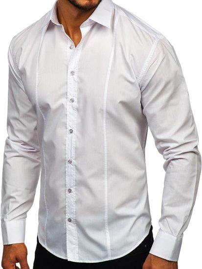 Рубашка мужская элегантная с длинным рукавом белая Bolf 4705g