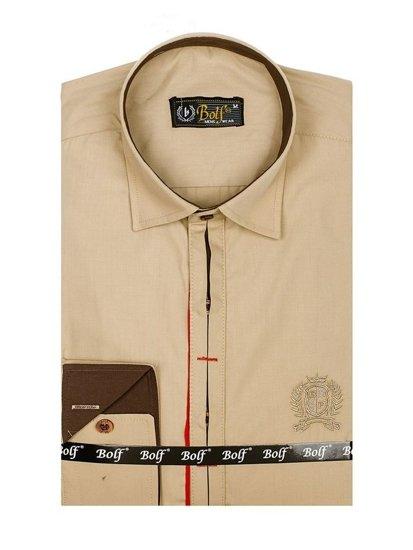 Рубашка мужская элегантная с длинным рукавом кэмел Bolf 1769