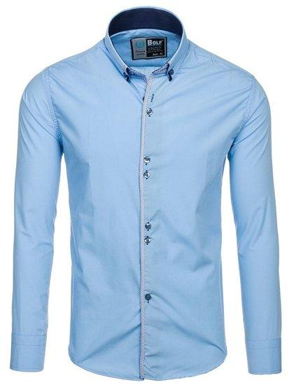 Рубашка мужская BOLF 5811 голубая