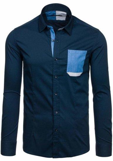 Рубашка мужская N. Men 7192 темно-синяя
