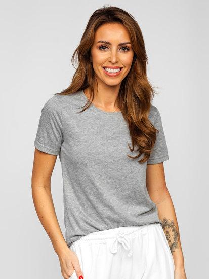 Серая женская футболка без принта Bolf SD211