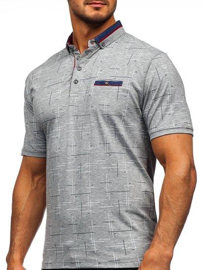 Серая мужская футболка поло с принтом Bolf 192232