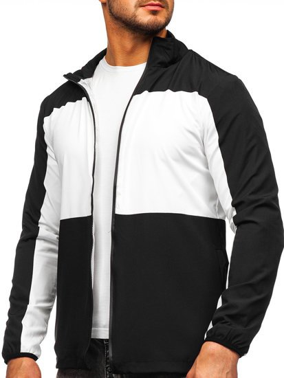Черная ветровка мужская спортивная куртка Bolf HM094