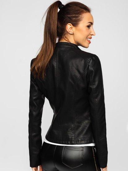 Черная женская кожаная куртка Bolf R202