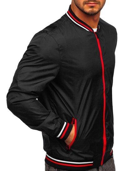 Черная мужская демисезонная куртка бомбер Bolf M10289
