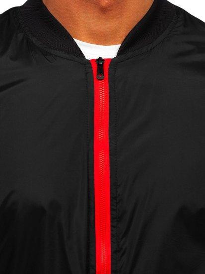 Черная мужская демисезонная куртка бомбер Bolf M10292