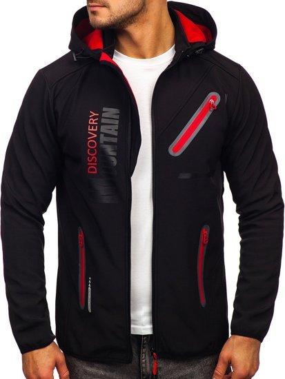 Черно-красная мужская куртка софтшелл Bolf HH023