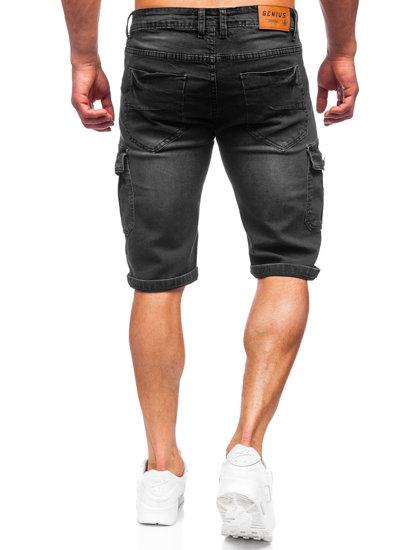 Черные джинсовые шорты мужские карго Bolf K15003-2