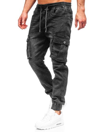 Черные мужские джинсовые джоггеры карго Bolf K10005