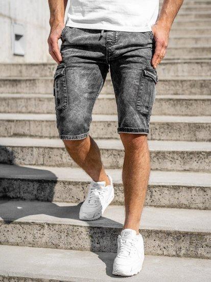 Черные мужские джинсовые шорты карго Bolf KR1201