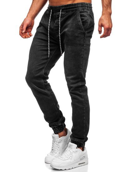 Черные мужские джинсы джоггеры Bolf KA2193
