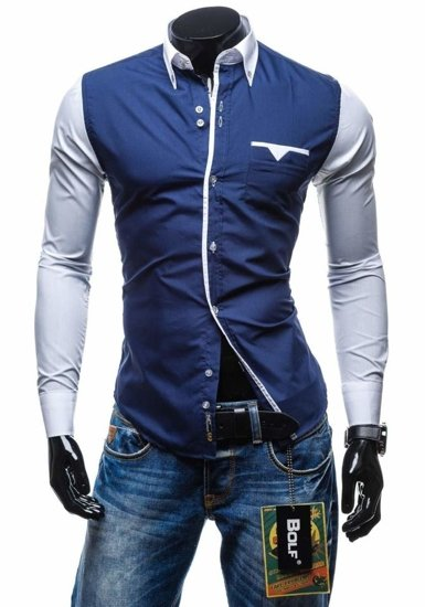 Элегантная рубашка сдлинным рукавом темно-синяя Bolf 5726
