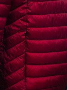 Бордовая стеганая демисезонная мужская куртка с капюшоном Bolf 13022