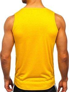Желтая футболка танк топ с принтом Bolf HY816