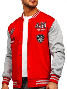 Красная толстовка-куртка мужская тонкая бейсбольная с принтом Bolf B10155